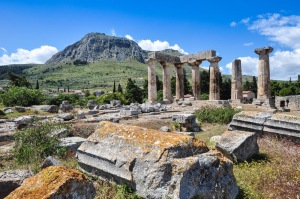 Temple of Apollo, Acrocorinth in background (Holy Land Photos)